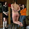 Schoolgirls spanked